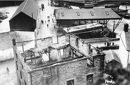 Henry Cowls and Sons from above after the fire of 1912