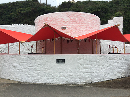 The Lime Kiln with its bespoke cover being used as a bar during the Porthleven Food Festival.