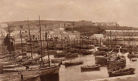 Busy Porthleven harbour.