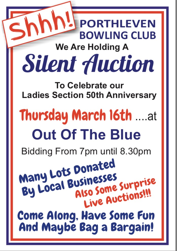Porthleven Bowling Club Silent Auction @ Out of the Blue | Porthleven | England | United Kingdom